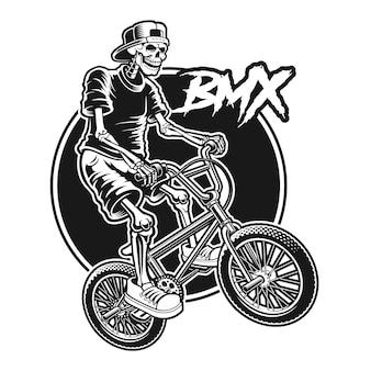Schwarzweiss-hemdentwurf mit einem skelett springt auf bmx-fahrrad.