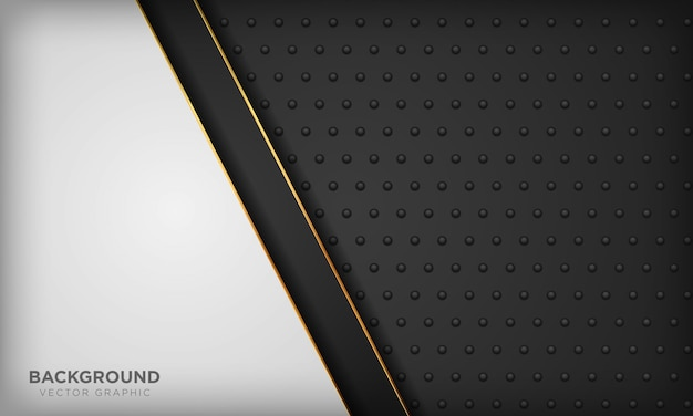 Schwarzweiss-hintergrund mit goldenem linienelement auf dunkler metallbeschaffenheit. moderner luxushintergrund.