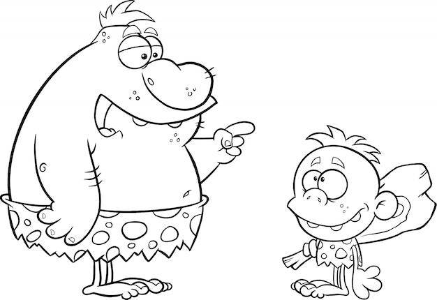 Schwarzweiss-höhlenmensch-vater, der mit höhlenmenschen-jungen spricht. illustration isoliert auf weiß