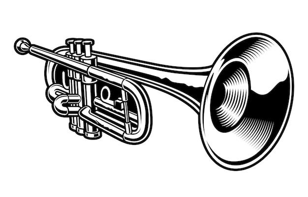 Schwarzweiss-illustration der trompete auf dem weißen hintergrund.
