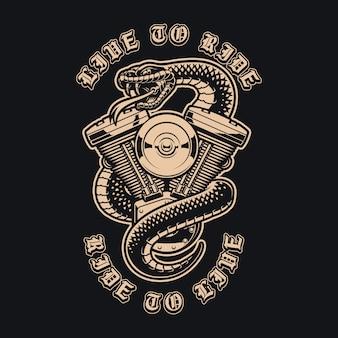 Schwarzweiss-illustration einer schlange mit motorradmotor. perfekt für ein logo, kleidung und viele andere zwecke.