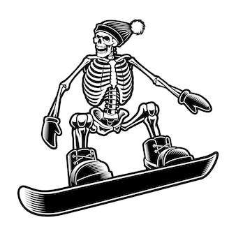 Schwarzweiss-illustration eines skeletts auf dem snowboard lokalisiert auf weißem hintergrund.