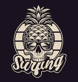 Schwarzweiss-illustration mit ananasschädel im weinlesestil. dies ist perfekt für logos, hemddrucke und viele andere zwecke.