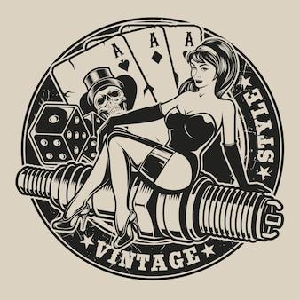 Schwarzweiss-illustration mit pin-up-girl auf einer zündkerze mit würfeln und spielkarten im vintage-stil. alle elemente und texte befinden sich in einer separaten gruppe.