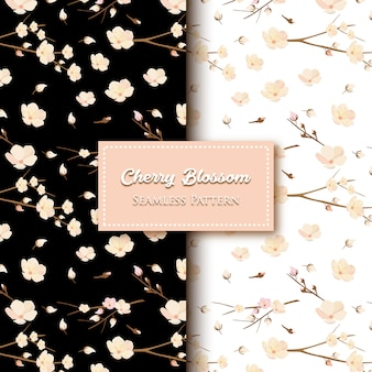 Schwarzweiss-kirschblüten-muster