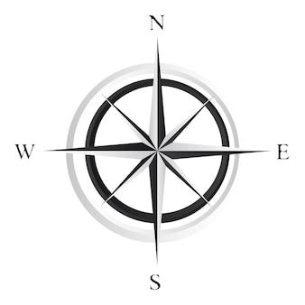 Schwarzweiss-kompassrose über weißem hintergrundvektor