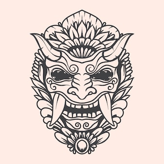 Schwarzweiss-kunstwerkillustration der barong balinesischen kulturschablone mit detaillierter farbe