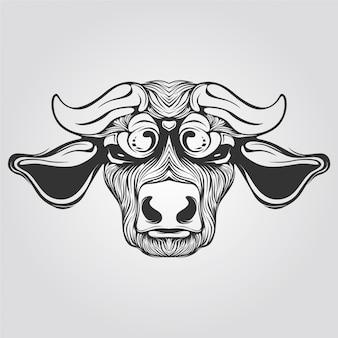 Schwarzweiss-linie der kuh mit einzigartigem horn