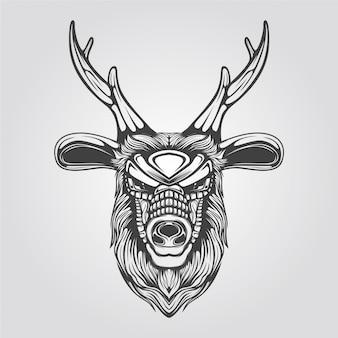 Schwarzweiss-linie kunst des rens
