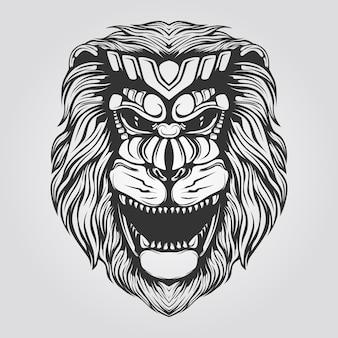 Schwarzweiss-löwelinie kunst für tatto oder malbuch