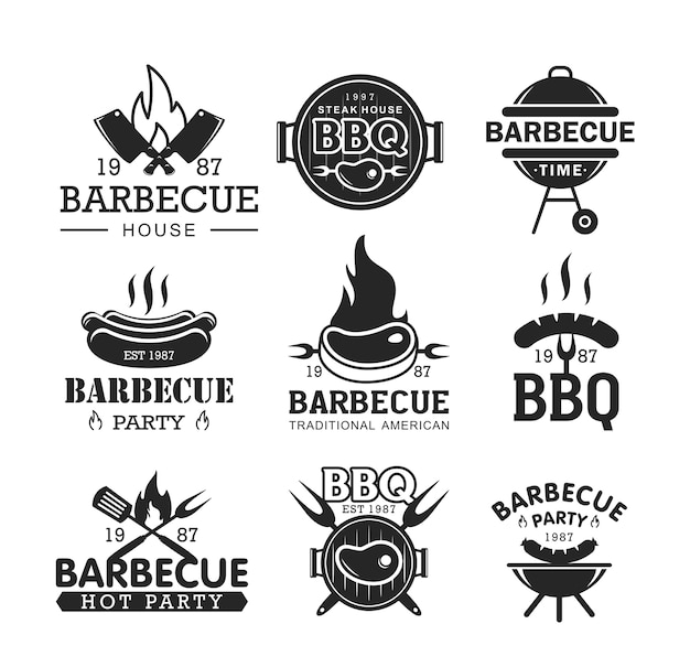Schwarzweiss-logo der grillparty stellte bbg-logo-sammlung lokalisiert auf weißem hintergrund ein