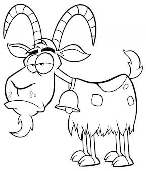 Schwarzweiss-mürrischer ziegen-karikatur-maskottchen-charakter. illustration isoliert auf weiß