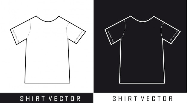 Schwarzweiss-schattenbildhemd-vektorillustration