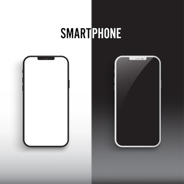 Schwarzweiss-smartphone mit dem schirm lokalisiert auf weiß und schwarzem
