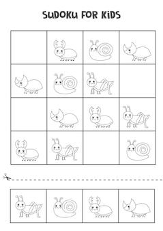 Schwarzweiss-sudoku für kinder im vorschulalter. logisches spiel mit niedlichen insekten.