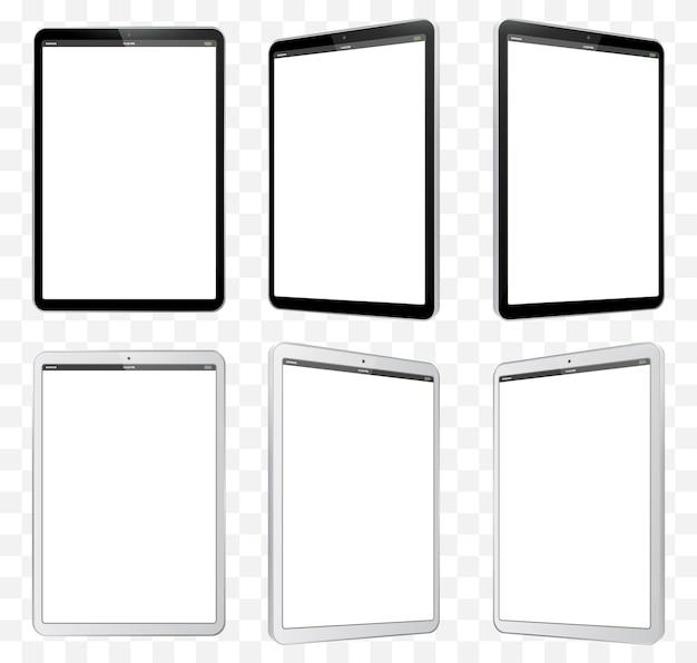 Schwarzweiss-tablet-computer-illustration. perspektivische ansicht des tablet pc mit leerem bildschirm und transparentem hintergrund.