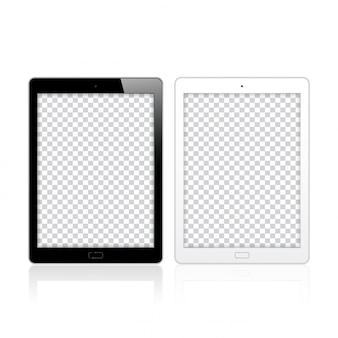 Schwarzweiss-tabletten-pc-computer für modell und schablone