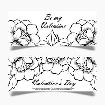 Schwarzweiss-valentinsgruß-fahne