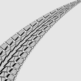 Schwarzweiss-vektorillustration von autoreifenbahnen über weißem hintergrund