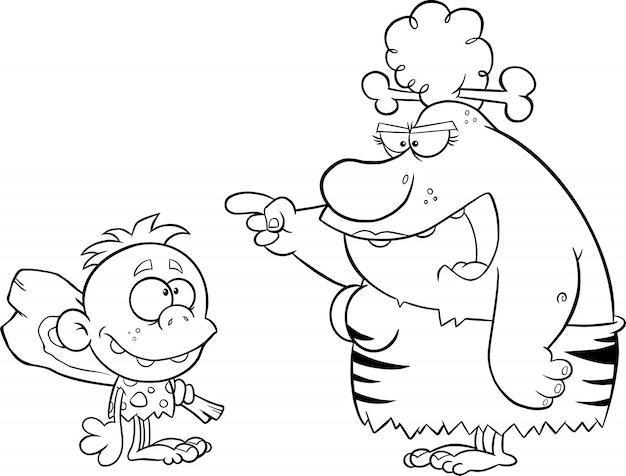 Schwarzweiss-verärgerte höhlenfrau mutter, die mit höhlenmenschen-jungen spricht. illustration isoliert auf weiß