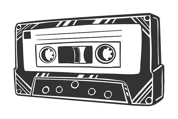 Schwarzweiss-vetorzeichnung der musikkassette, lokalisiert auf weißem hintergrund.