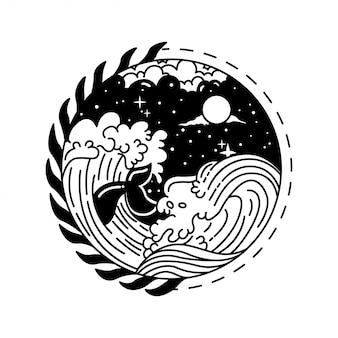 Schwarzweiss-wellen-gekritzel-illustration