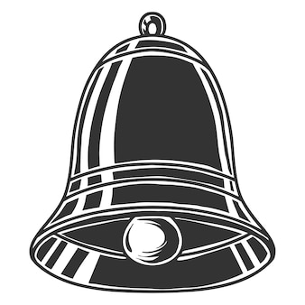Schwarzweiss-zeichnung der glocke, lokalisiert auf weißem hintergrund.