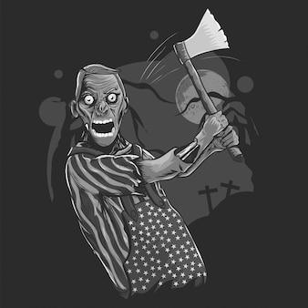 Schwarzweißabbildung des halloween-zombies axt halten