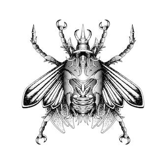 Schwarzweisses abstraktes insekt im weinlesenstil