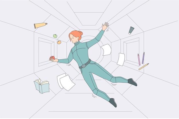 Schweben und fliegen im weltraumkonzept. junge frau raumfahrer kosmonauten im anzug fliegen schwebend im raumschiff fangen äpfel vektor-illustration
