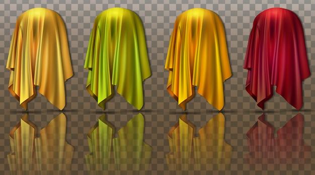 Schwebende stoffkollektion mit versteckter überraschungspräsentation eines neuen produkts