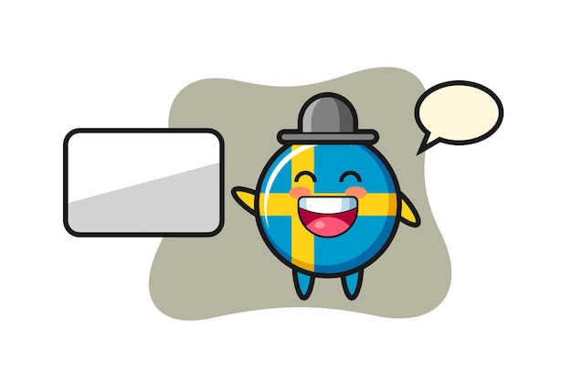 Schweden-flagge-abzeichen-cartoon-illustration, die eine präsentation macht, niedliches design für t-shirt, aufkleber, logo-element