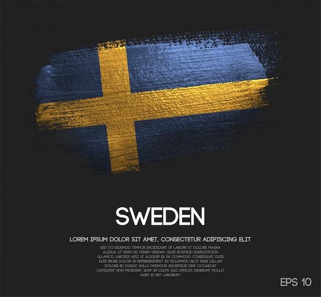 Schweden flagge aus glitzer sparkle pinsel farbe
