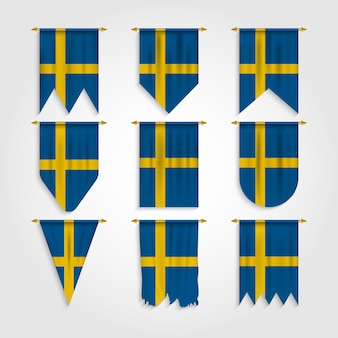 Schweden flagge in verschiedenen formen