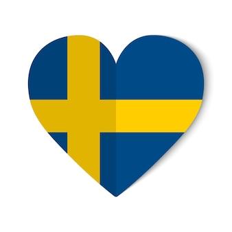 Schweden-flagge mit origami-stil auf herzhintergrund.