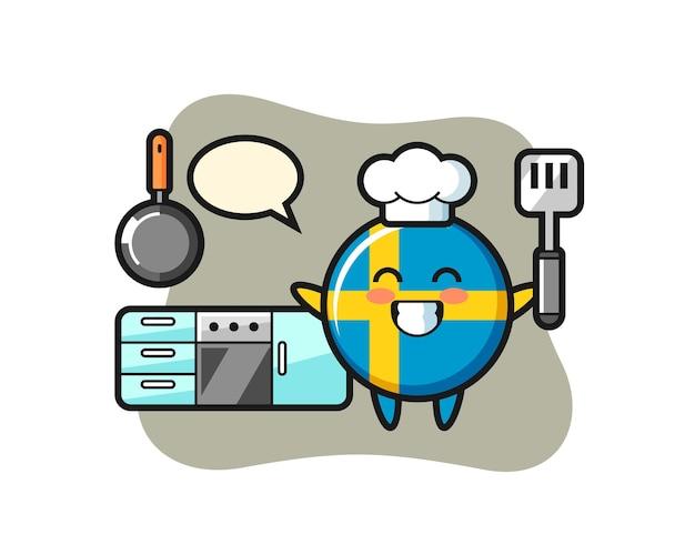 Schweden-flaggenabzeichen-charakterillustration, während ein koch kocht, niedliches design für t-shirt, aufkleber, logo-element