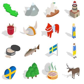Schweden-ikonen stellten in die isometrische art 3d ein, die auf weißem hintergrund lokalisiert wurde