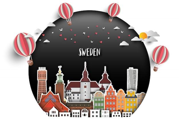 Schweden-markstein-globaler reise- und reisepapierhintergrund.