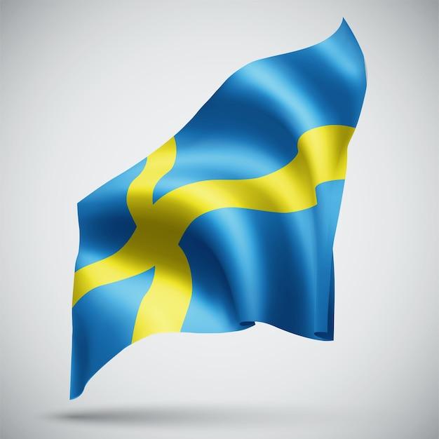 Schweden, vektor-3d-flagge isoliert auf weißem hintergrund