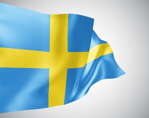 Schweden, vektorflagge mit wellen und kurven im wind auf weißem hintergrund.