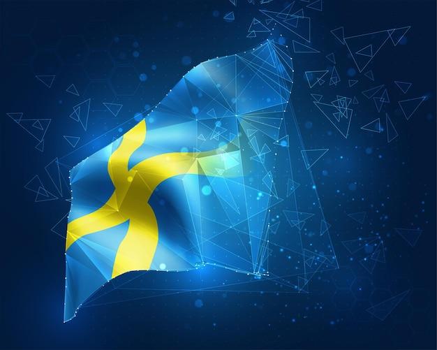 Schweden, vektorflagge, virtuelles abstraktes 3d-objekt aus dreieckigen polygonen auf blauem hintergrund