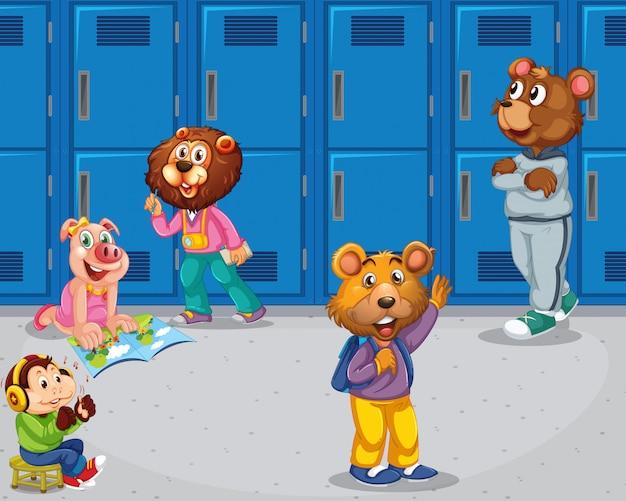 Schwein, affe, bären in der schule