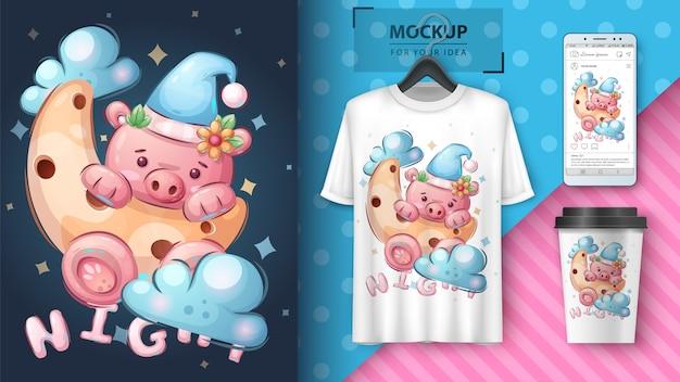 Schwein auf dem mond - plakat und merchandising