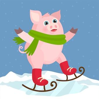 Schwein auf schlittschuhen