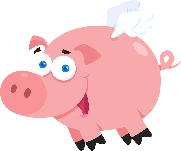 Schwein cartoon charakter fliegen