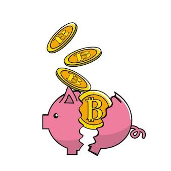 Schwein gebrochen mit bitcoin währung im inneren