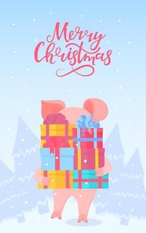 Schwein geht durch den wald und trägt kisten mit geschenken. frohe weihnachten-hand-schriftzug. grußkarte für die neujahrsfeiertage