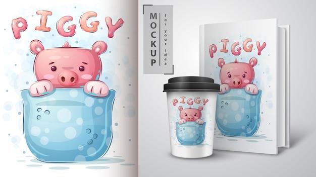 Schwein in tasse - plakat und merchandising.