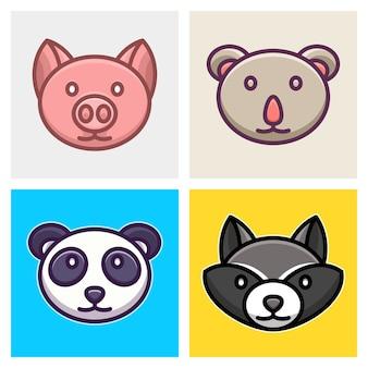 Schwein, koala, panda und waschbär