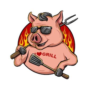 Schwein maskottchen